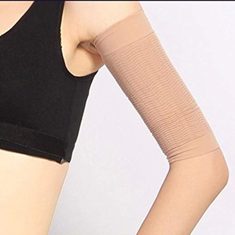 招待チロマイクロフォン1ペア420 D圧縮痩身アームスリーブワークアウトトーニングバーンセルライトシェイパー脂肪燃焼袖用女性 - 肌色