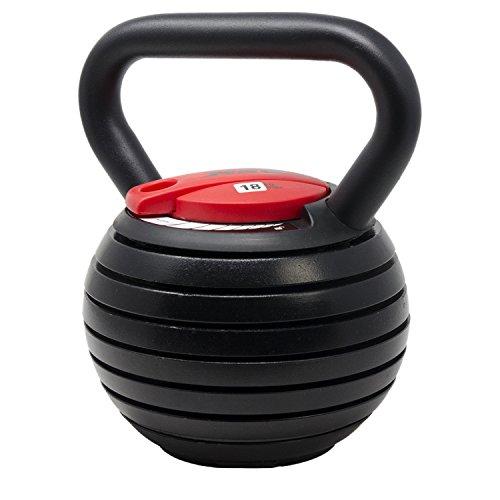 [1年保証] MRG ケトルベル 可変式 ダンベル 3.6~18kg 体幹トレーニング 筋トレ 床キズ防止 (ブラック×レッド)
