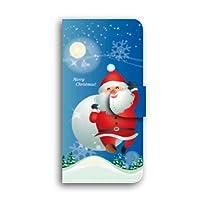 SHARP AQUOS SERIE mini ケース 手帳型 SHV38 スマホケース 【サンタクロース / 3-ブルー】 キャメル ミラー&カードスロット付き シャープ アクオス セリエ ミニ au