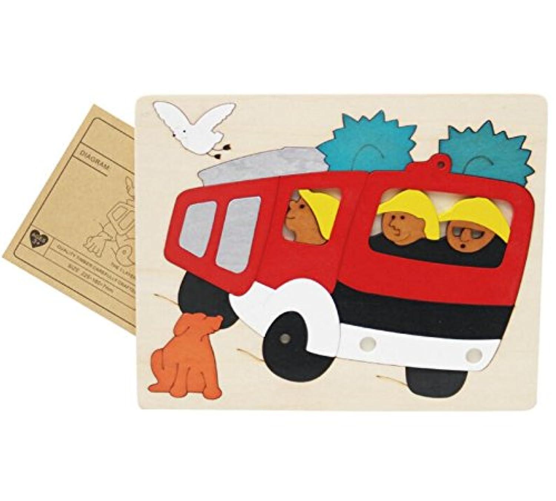 HuaQingPiJu-JP 創造的な木製の3D教育パズルアーリーラーニング番号の形の色の動物のおもちゃキッズのための素晴らしいギフト(消防車)
