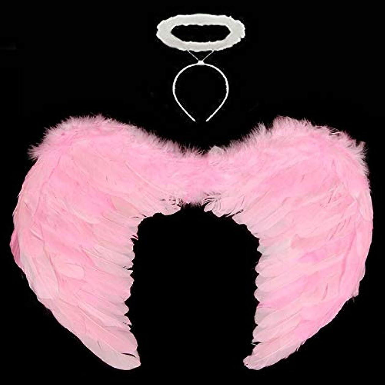 やさしくまっすぐにする核55x40cm羽の羽の子供たちのコスプレパーティーハロウィンパーマコスチューム装飾(ピンク)