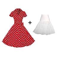 プラスサイズxl女性レトロワンピース s sヴィンテージロカビリースイングfemininoドレス