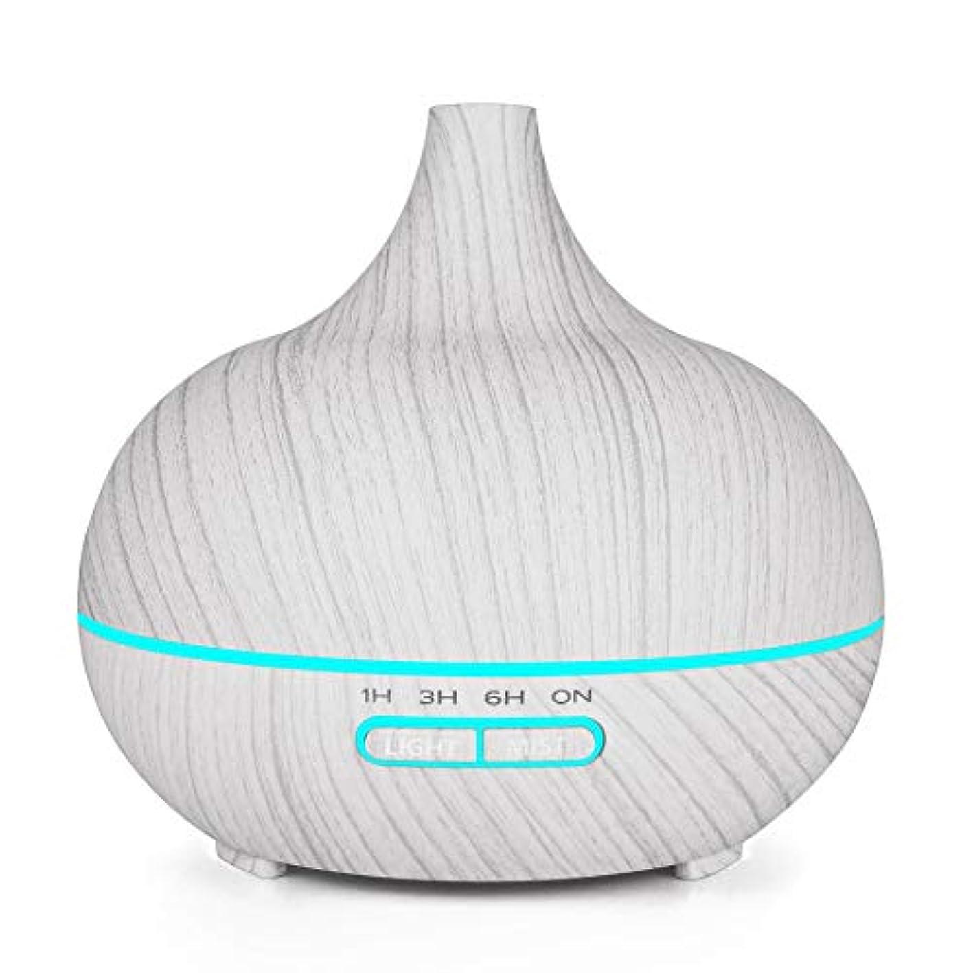 計画的可決頬木目 涼しい霧 加湿器,7 色 空気を浄化 加湿機 時間 手動 香り 精油 ディフューザー アロマネブライザー Yoga ベッド- 400ml