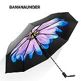 Banananunder 日傘 レディース 折りたたみ傘 二重生地 花柄 UVカット率100% 完全遮光遮熱 晴雨兼用 大型 8本骨 ひんやり傘 日焼け防止