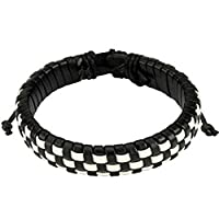 """ブラックandホワイトチェッカーWeaved Layersレザーブレスレットwith Drawstrings、調整可能なサイズby Sliding tie-knot Closure and OneサイズFits Most (延長最大10"""" )ブレスレットLegth : 7.48"""" -9.84""""横幅: 14.5MM"""