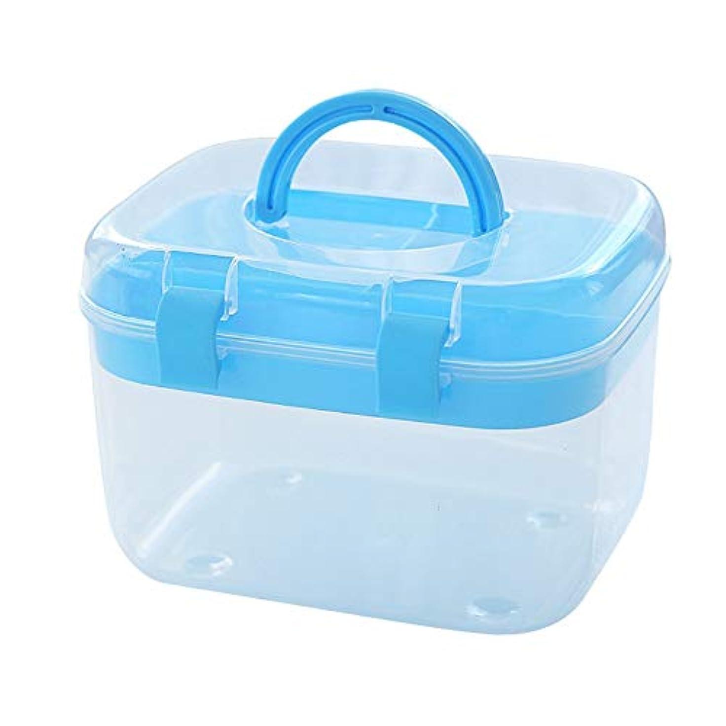 最初は信頼できる評論家ZHILIAN& 応急処置キット家庭用薬収納ボックスポータブルポータブル多機能収納ボックスツールボックス三色オプション15×10×11センチ (Color : Blue)