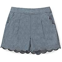 Hope & Henry Girls' Scallop Edge Pull-On Short