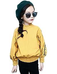 Tokuonn ブラウス キッズシャツ 女の子 長袖トップス 立って襟 子供服 ゆったり 可愛い カジュアル オシャレ 普段着 通園通学