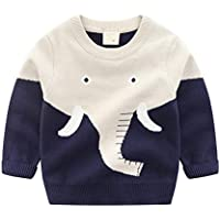 HUAER& Baby Boys Girls Knit Sweater Unisex Cotton Cartoon Animal Pullover Sweatshirt