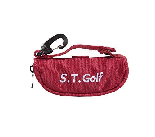 ゴルフボール ケース S.T.Golf ゴルフ ボールポーチ おしゃれ な ゴルフ ボールケース 軽量 ボール3個 ティー3本収納 (レッド)