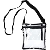 Youngever Deluxe Clear Cross-Body Purse, Stadium Approved Clear Vinyl Bag, Adjustable Cross-Body Strap Clear Plastic Bag, Larger Size, Extra Inside Pocket