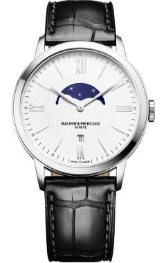 [ボーム&メルシェ] Baume & Mercier 腕時計 Baume et Mercier Classima White Dial Moonphase Black Leather Mens Watch クォーツ 10219 【並行輸入品】