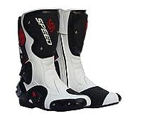 バイク用レーシングブーツ ライダーブーツ バイクウエア  スポーツブーツ バイクブーツ メンズ オートバイ靴 バイク靴 (ホワイト, 45(27cm))