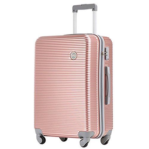アウトレット価格 スーツケース (3サイズ6カラー) 超軽量 4輪 キャスター TSAロック ハードキャリー ファスナータイプ キャリーバッグ キャリーケース (S(1~3泊)-37L, ローズゴールド)