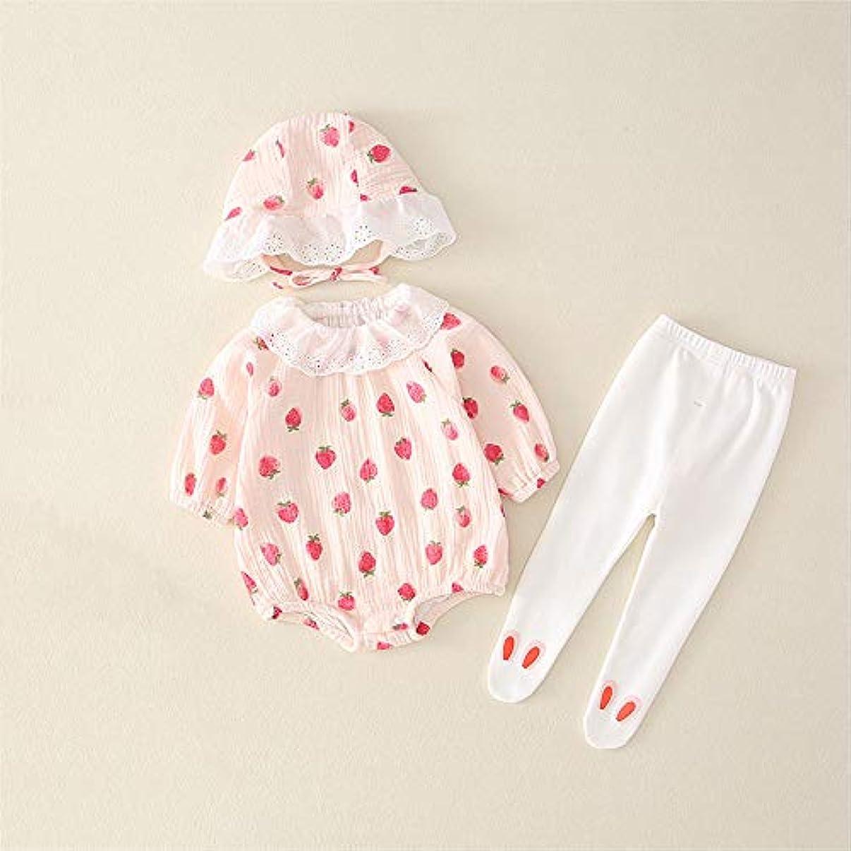 欠点現れる無視女の子服、女の赤ちゃんのために三点セットソフト肌にやさしい、と女の子のためのドレスアップ服,ピンク,66cm(25.9in)