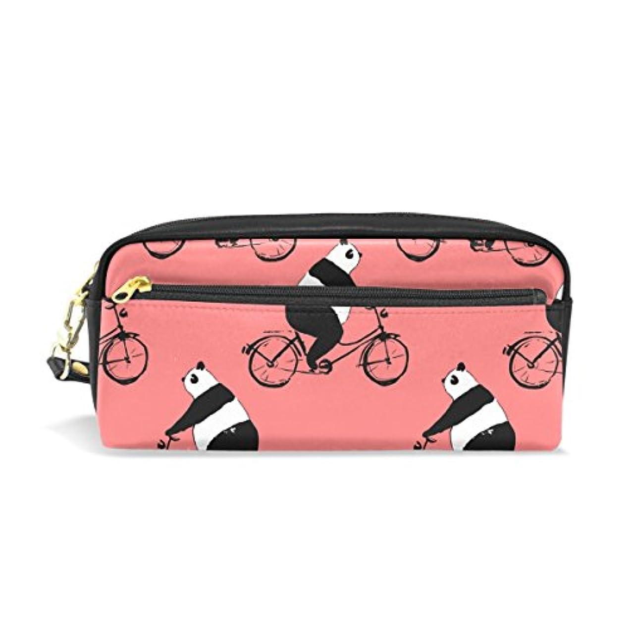 こっそり賞としてAOMOKI ペンケース 化粧ポーチ 小物入り 多機能バッグ パンダ 自転車