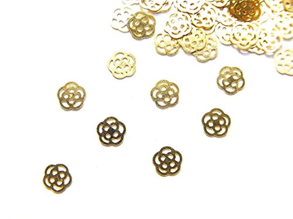せせらぎ感謝する全体に【jewel】ug29 薄型ゴールド メタルパーツ Sサイズ 薔薇 ローズ 10個入り ネイルアートパーツ レジンパーツ