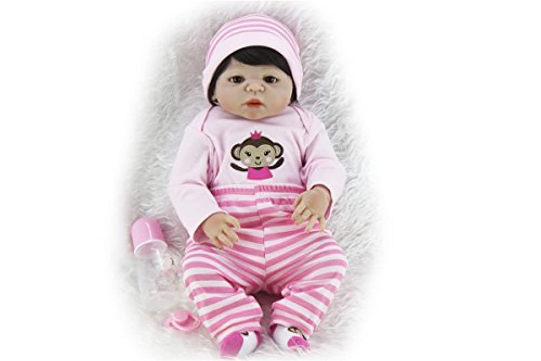 SanyDoll Rebornベビー人形ソフトSilicone 22インチ55 cm磁気Lovely LifelikeキュートかわいいベビーピンクMonkey Suit