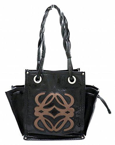 [ロエベ] LOEWE ショッパートートバッグ ハンドバッグ ミニバッグ エナメル 黒 ブラック