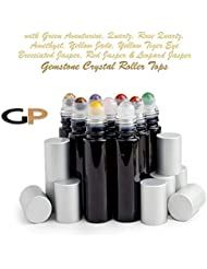 Grand Parfums 9 Gemstone Crystal Roller Tops in 10ml Shny Black Glass Bottles, with Matte Silver Caps for Essential...