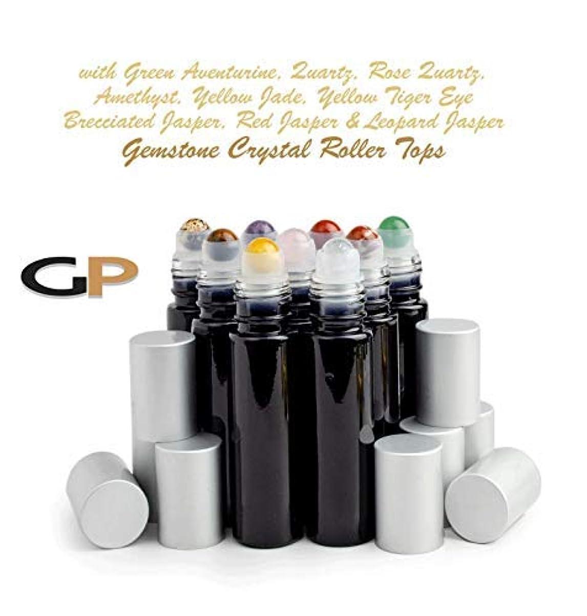 アクセル広範囲思いやりのあるGrand Parfums 9 Gemstone Crystal Roller Tops in 10ml Shny Black Glass Bottles, with Matte Silver Caps for Essential...