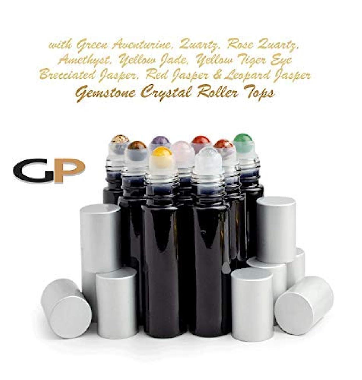 ワイヤーリビジョン振る舞うGrand Parfums 9 Gemstone Crystal Roller Tops in 10ml Shny Black Glass Bottles, with Matte Silver Caps for Essential...