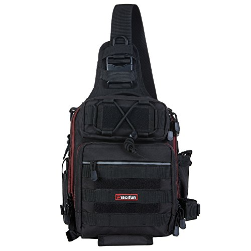 ピシファン(Piscifun)ワンショルダーバッグ 4way多機能バッグ タックルバッグ 1000D防水ナイロン 釣り用 アウトドア用 撮影用 ブラック