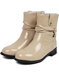 (アマート) Amaort くしゅくしゅ エナメル レインブーツ レディース おしゃれ 長靴 かわいい インソール付き