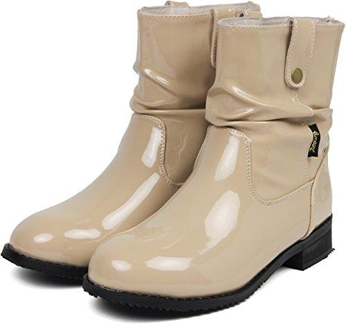 (アマート) Amaort くしゅくしゅ エナメル レインブーツ レディース おしゃれ 長靴 かわいい インソール付き ベージュ M