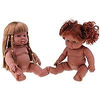 Baoblaze 2個 ビニール製 30cm新生児少女人形 子供玩具 ブラック肌色