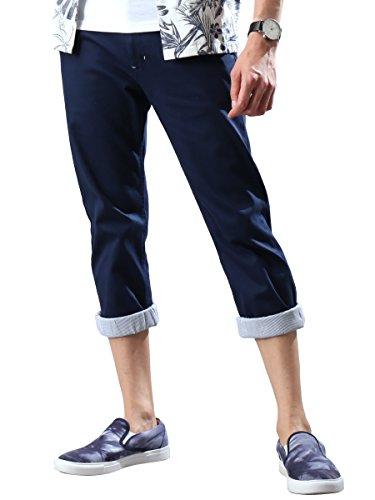 [リピード REPIDO] クロップドパンツ チノパン ベルト付き メンズ ベルト パンツ チノパンツ 七分丈 ネイビー L(表記:82)