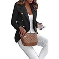 Macondoo Women Office Lady Coat Lapel Collar Double Breasted Blazer Jackets