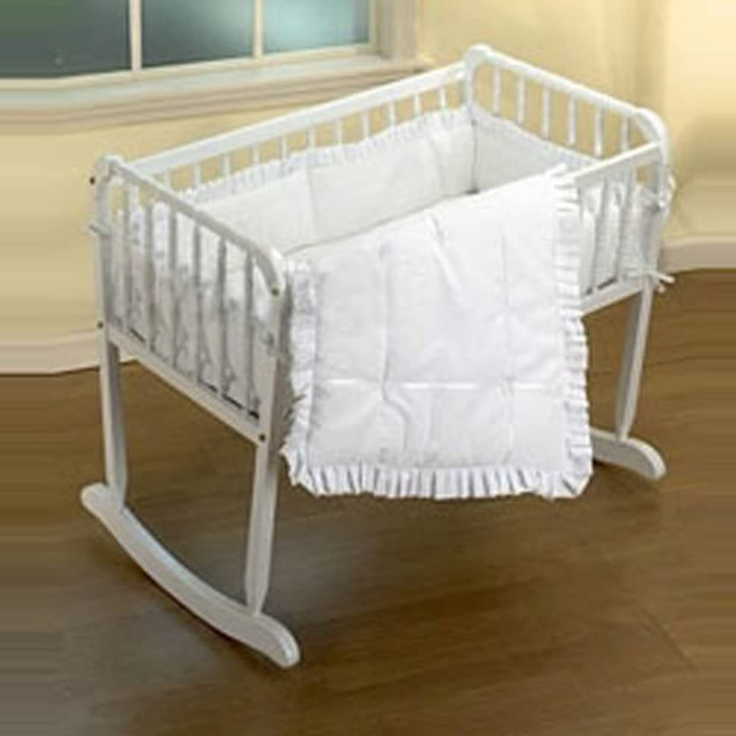Baby Doll Bedding Simplicity Cradle Set, White by BabyDoll Bedding