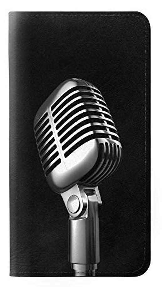 乱闘快いインサートJPW1672A88 レトロ マイク ジャズ音楽 Retro Microphone Jazz Music Samsung Galaxy A8 (2018) フリップケース