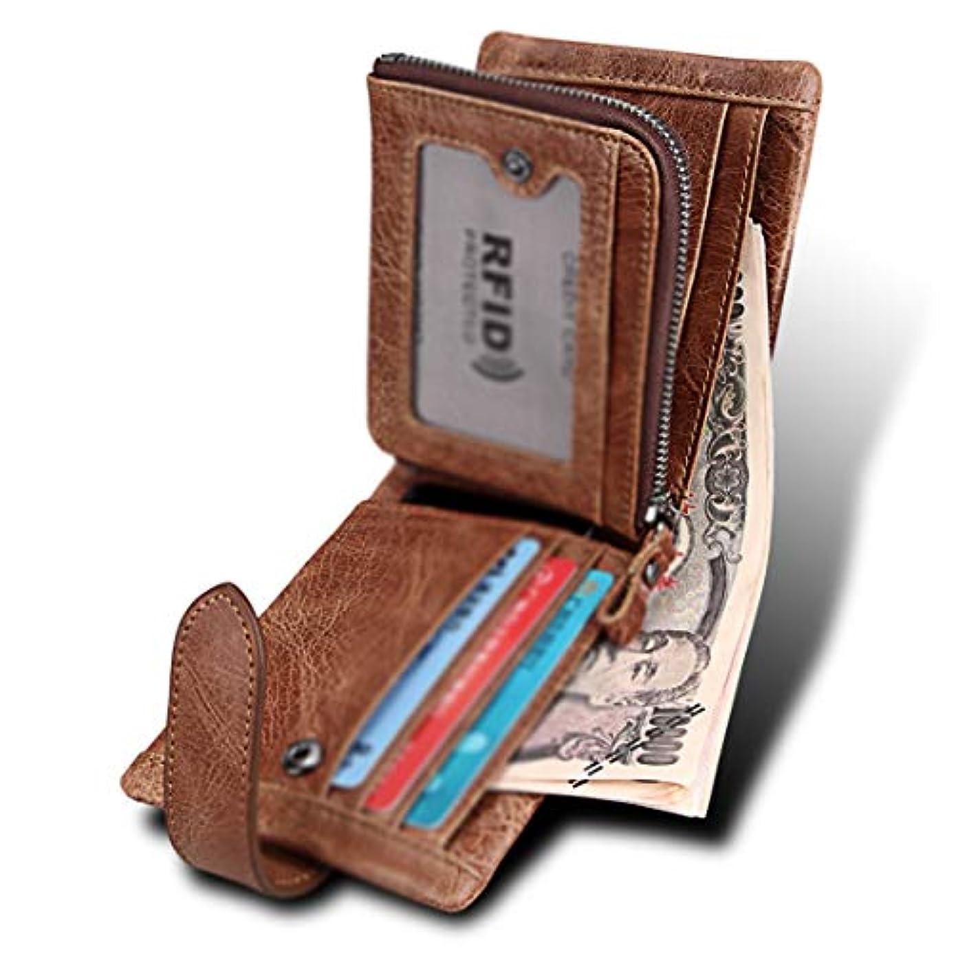 銀行アブストラクト負荷JOYS CLOTHING IDの窓が付いている人のためのCracyの馬の革RFIDのブロッキング2つ折り財布