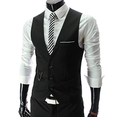 【ARINCO】 メンズ Vネック ベスト スーツ フォーマル 男前 大きい サイズ M L XL XXL (ブラック,XXL)