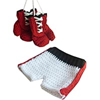 新生児のかぎ針編みのボクシンググローブ+ショーツコスプレコスチューム写真の小道具の衣装セット (ブラック)