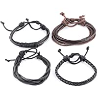 Niome 4 Pcs Women Men's Fashion Adjustable Leather Knit Bracelets Black