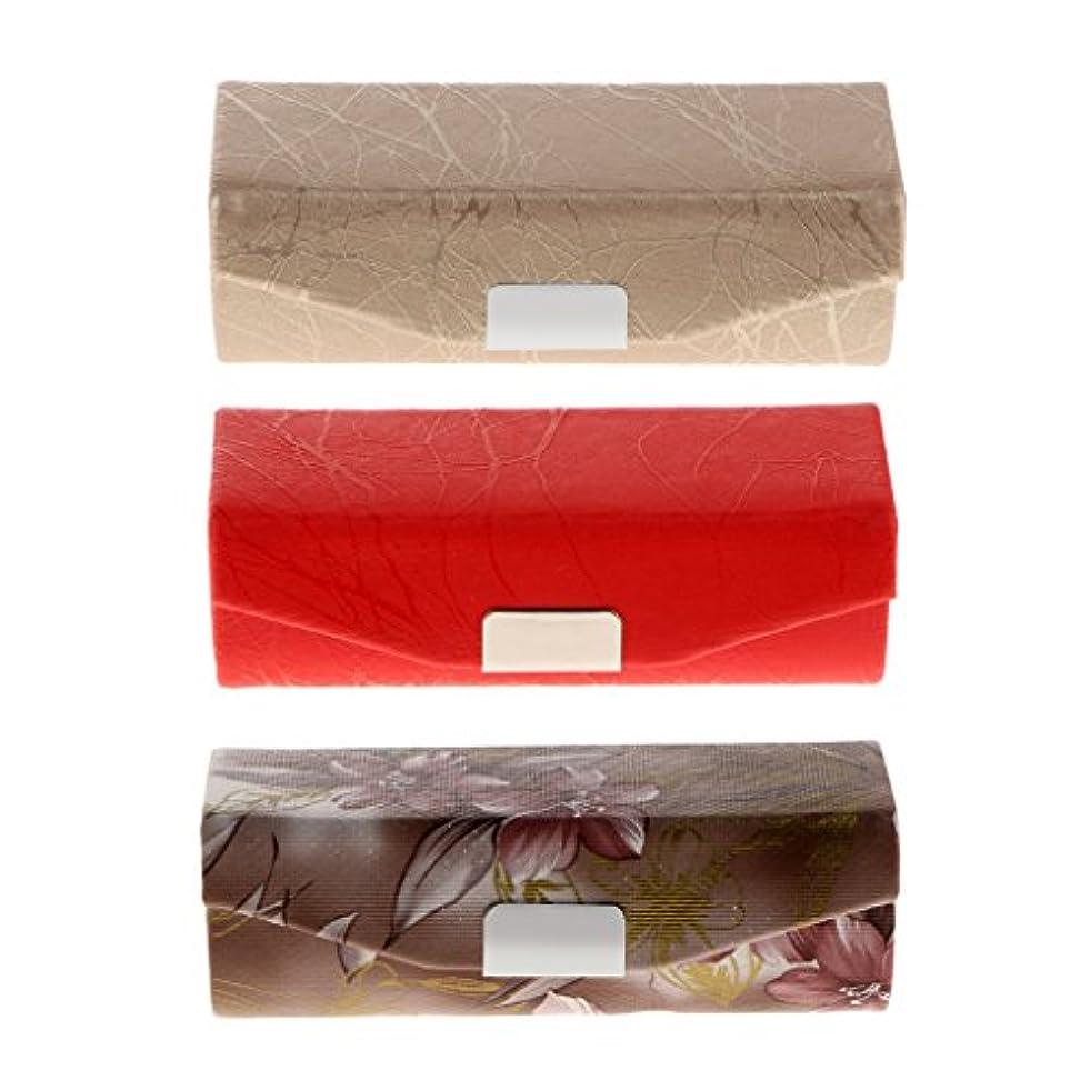 手術スカルクピンBaosity リップスティックケース 化粧ポーチ メイクアップポーチ リップグロス 口紅 収納ケース 収納ボックス ミラー付き 小物収納 可愛い 数量選択可 - 3個入
