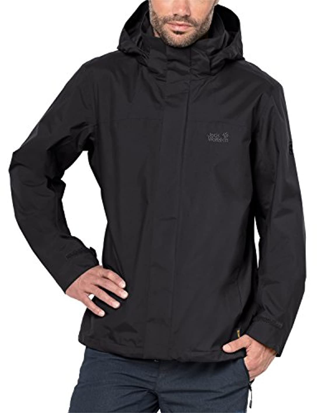 プライム骨折排泄するJACK WOLFSKIN MENS HIGHLAND WATERPROOF JACKET BLACK (LARGE)