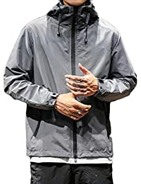 Sodossny-JP メンズロングスリーブ軽量ウインドブレーカーフードサイクリングジャケットコート