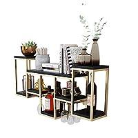 ワインラック/レトロなワイングラスの棚の掛かる棚/棒壁の棚、木板+錬鉄の棚 (色 : A1)