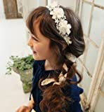 桜の雪 韓国風 女の子 可愛い おしゃれ 花びら レース リボン ヘッドドレス (ホワイト)