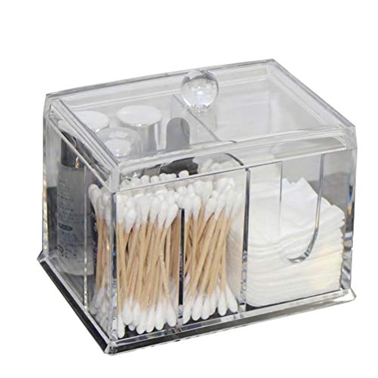 内部提案する丘Frcolor 綿棒ケース コットンケース 棉棒ボックス コットン入れ 綿棒入れ コスメケース 小物収納 アクリル製 蓋付き 防塵 透明 卓上収納