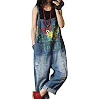 Yesno P60 Women Jeans Cropped Pants Overalls Jumpsuits Hand Painted Poled Distressed 100% Cotton Casual Loose Fit