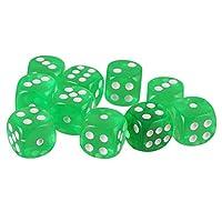 10個 おもちゃ 六面体 ボードゲーム TRPGゲーム アクリル D6 ダイス パック 全10色 - グラスグリーン