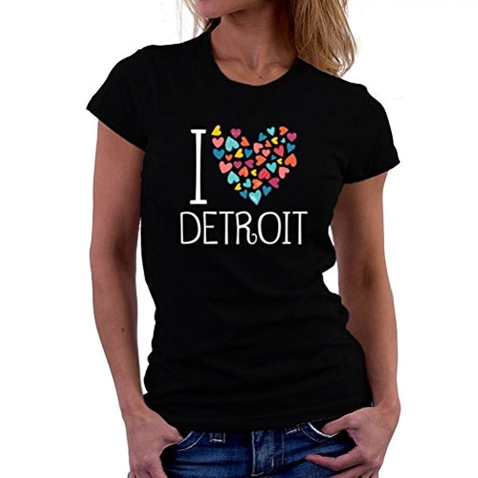 悪性防腐剤とんでもないI love Detroit colorful hearts 女性の Tシャツ