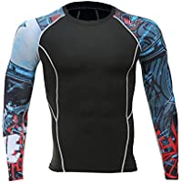 Muscle Male Compression Tight t-Shirts Long Sleeve Printed on Both Sides of MMA Rashguard Fitness Base Layer Weights to wear