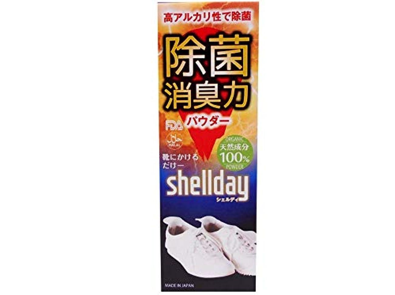 依存する発掘する線形シェルデイ 靴消臭パウダー 大容量 80g 靴消臭 足の臭い対策消臭剤 100%天然素材