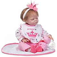 ソフトSilicone Lifelike Sleeping Girlおしゃぶり人形Reborn Babies Littleプリンセス服装Wait Mommy Adoption、22インチ